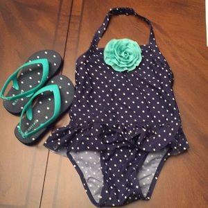Bathing suit w/matching flip flops